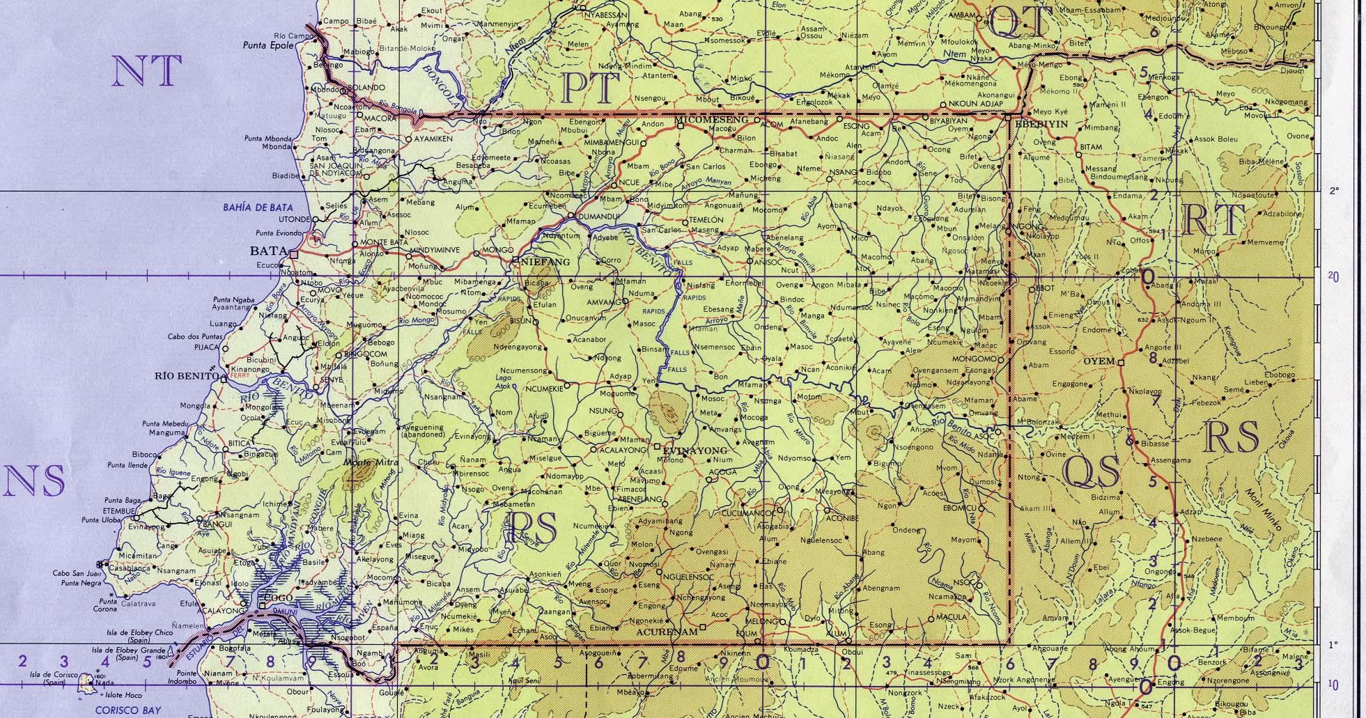 Equatorial Guinea Topographic Map 1963