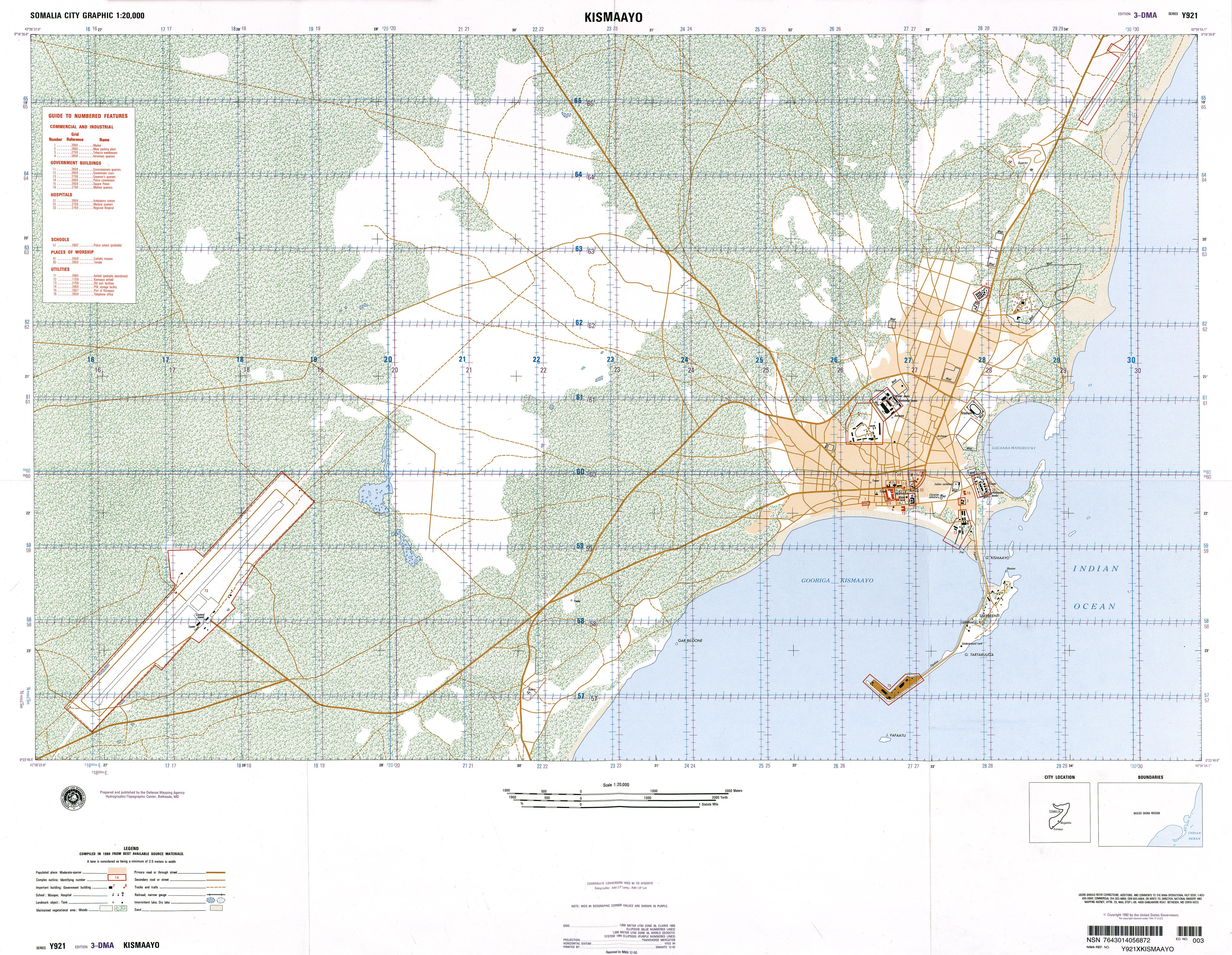 Mapa Topográfico de Kismaayo, Somalia