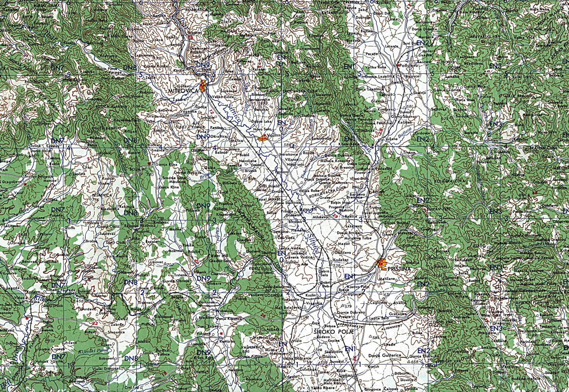 Mapa Topográfico de Kosovo Central 1959
