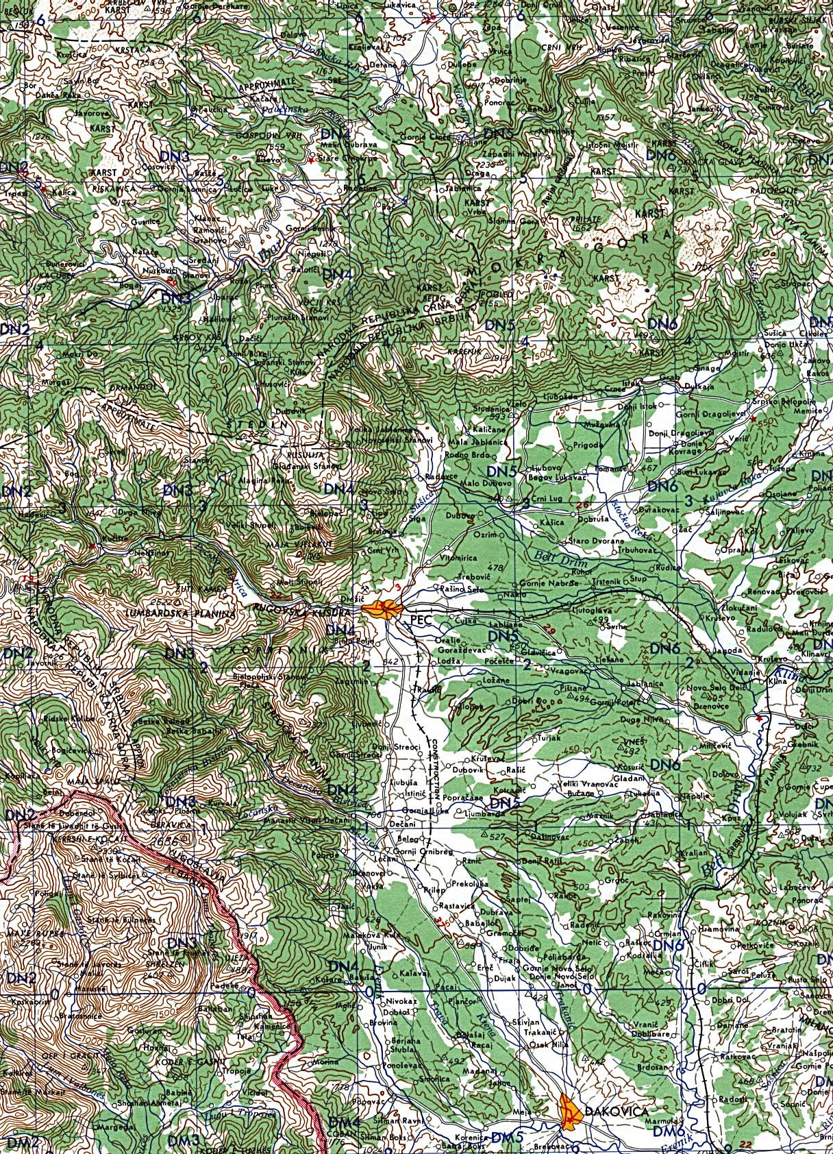Mapa Topográfico de Kosovo Occidental