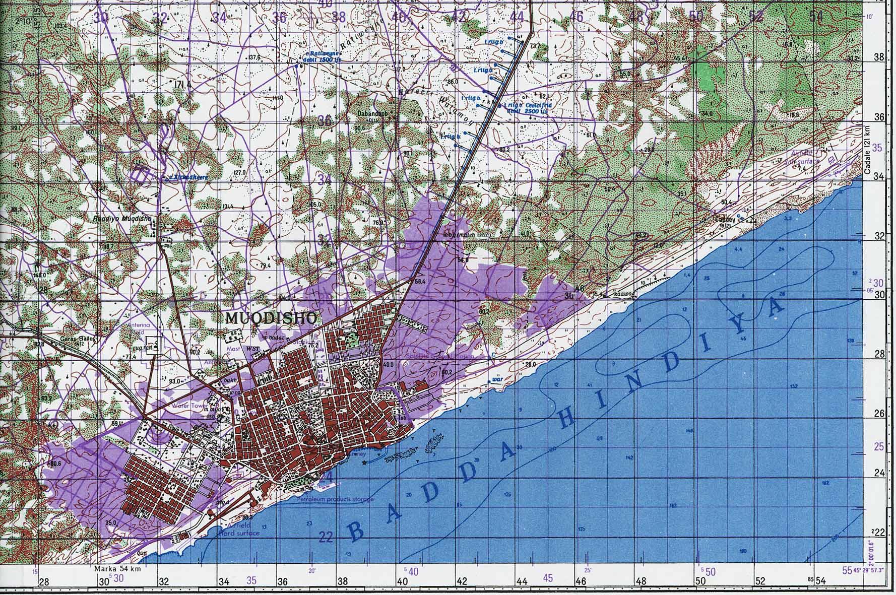 Mapa Topográfico de Mogadiscio, Somalia