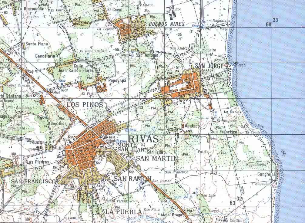 Rivas Topographic Map, Rivas, Nicaragua
