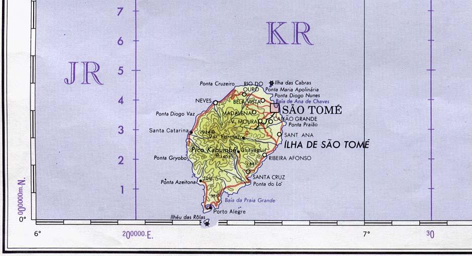 Mapa Topográfico de Santo Tomé y Príncipe