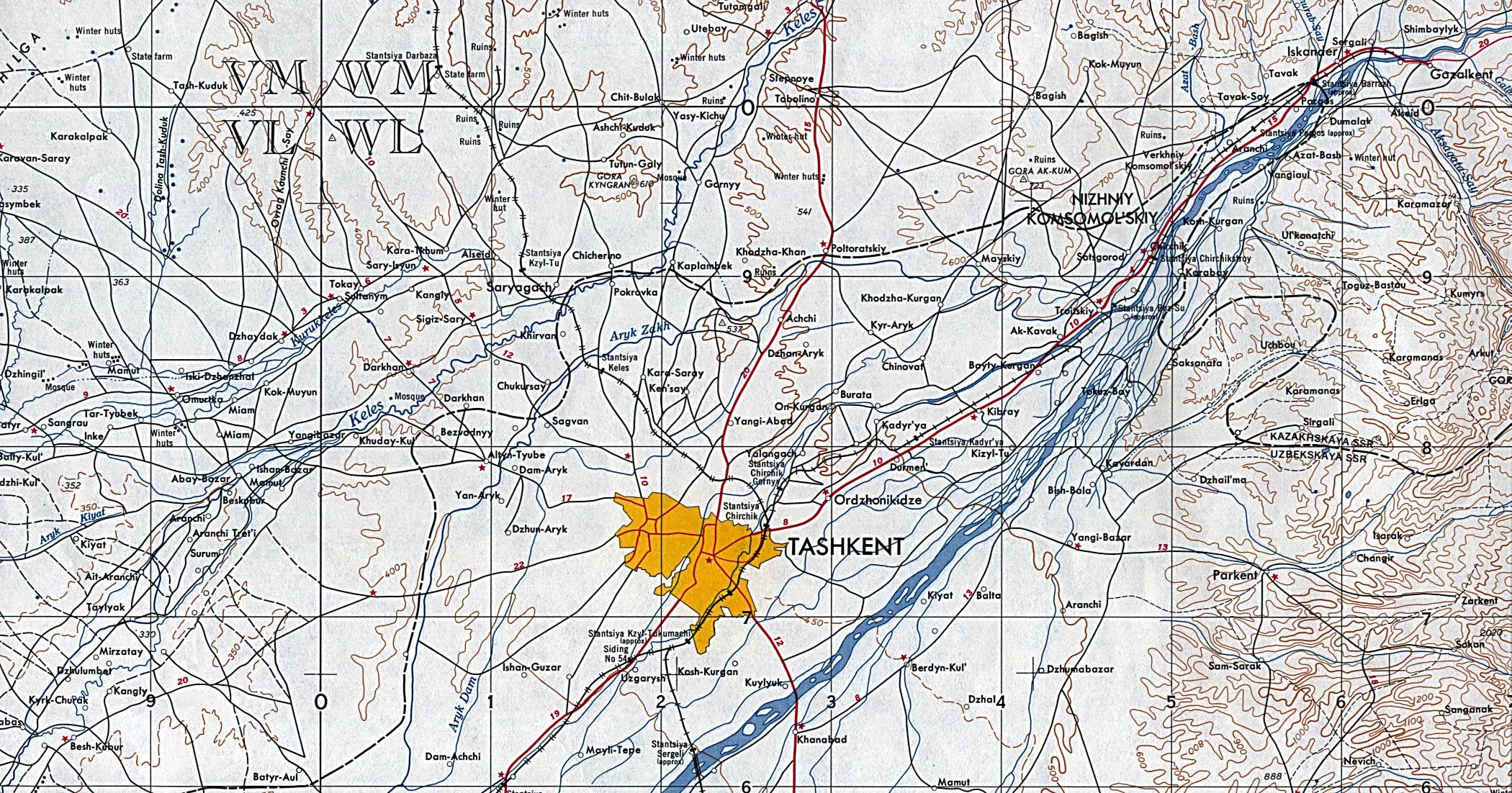 Mapa Topográfico de Taskent, Uzbekistán 1957