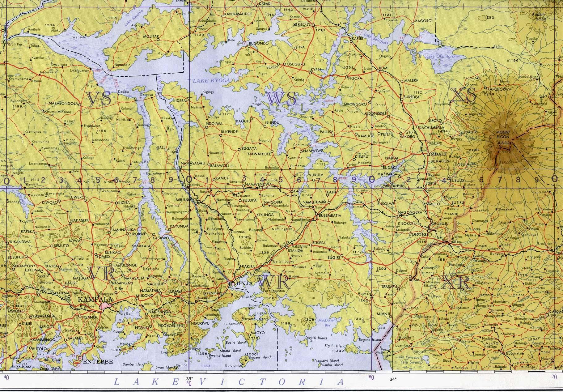 Mapa Topográfico de Uganda Suroriental