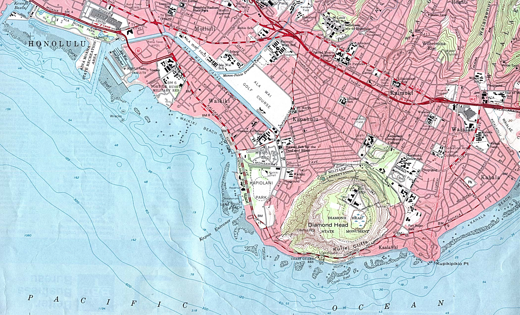 Honolulu Diamond Head/Waikiki Topographic Map, Hawaii, United States