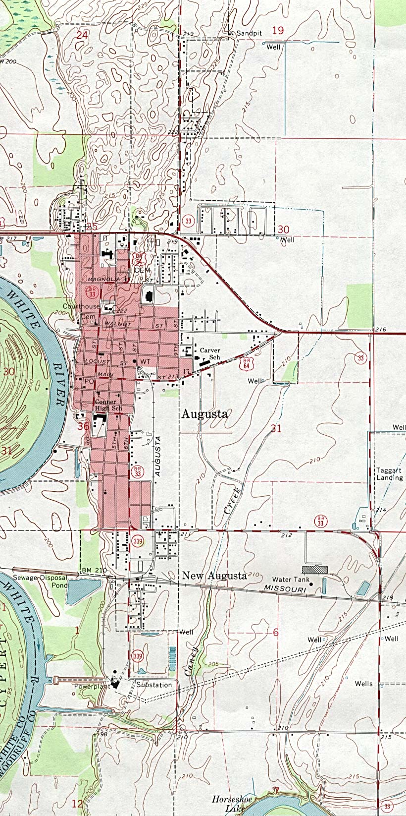 Augusta Topographic City Map, Arkansas, United States