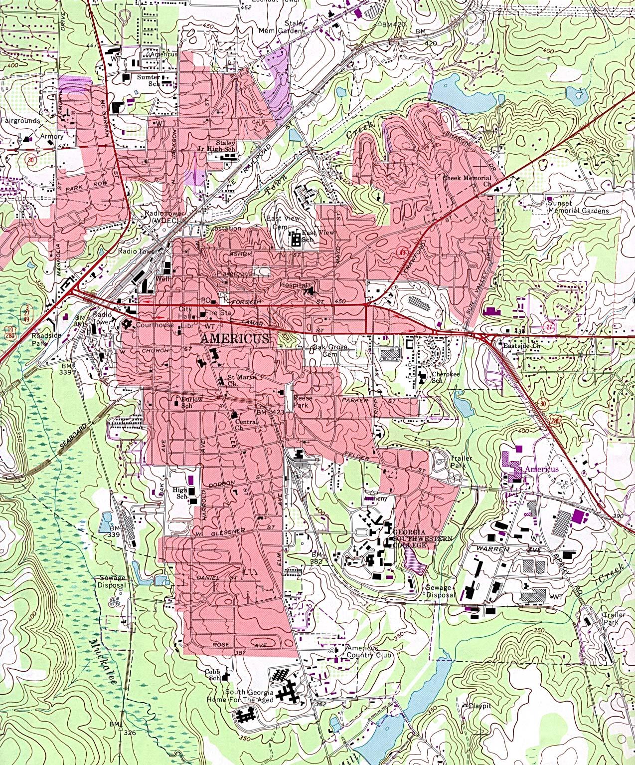 Mapa Topográfico de la Ciudad de Americus, Georgia, Estados Unidos