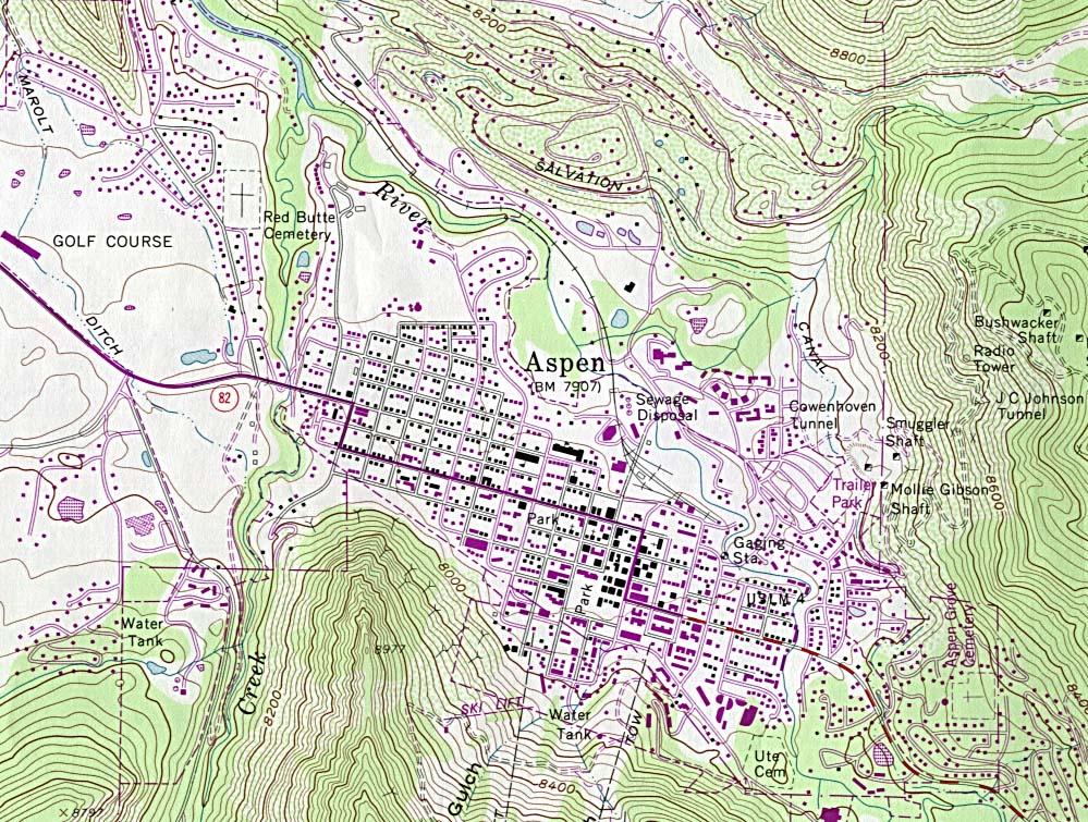 Mapa Topográfico de la Ciudad de Aspen, Colorado, Estados Unidos