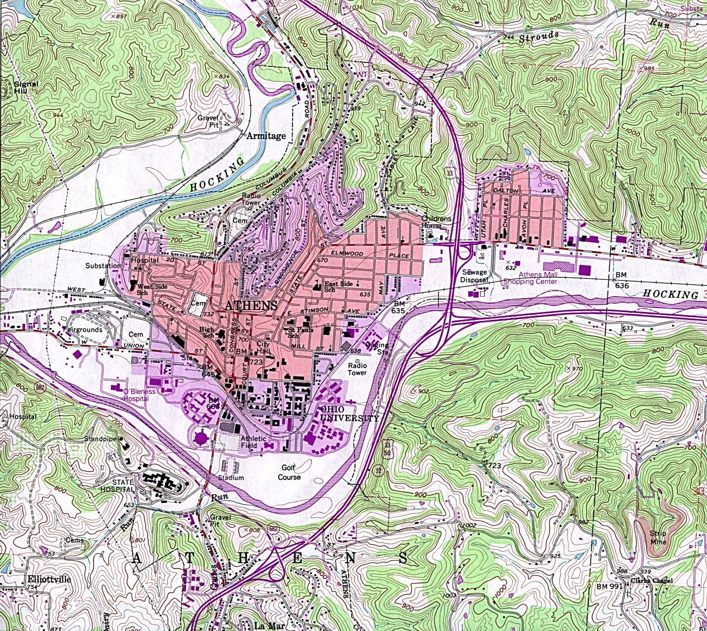 Athens Topographic City Map, Ohio, United States