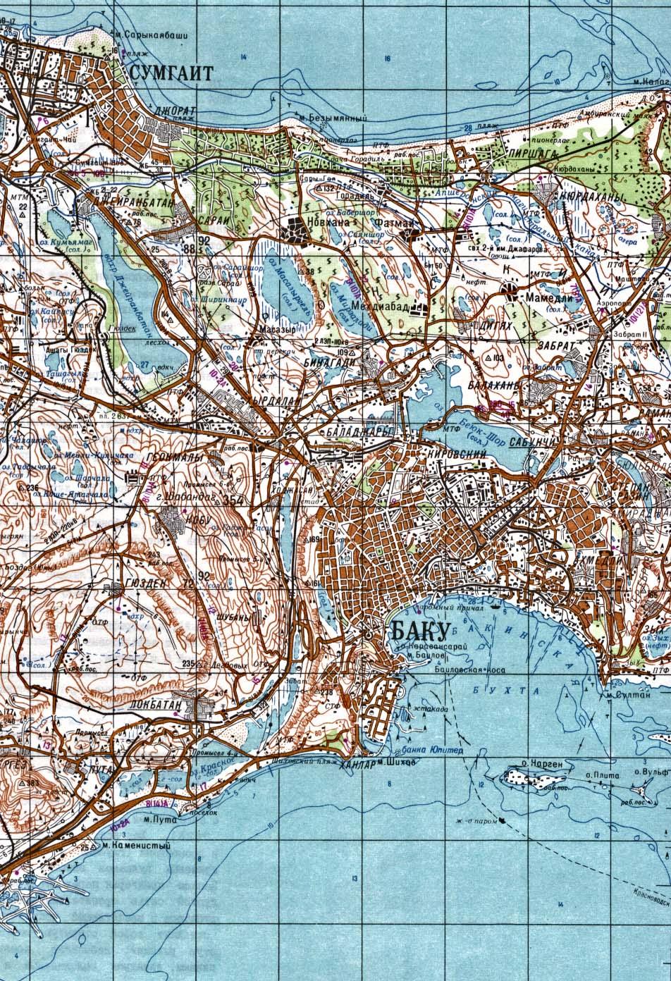 Mapa Topográfico de la Ciudad de Bakú, Azerbaiyán