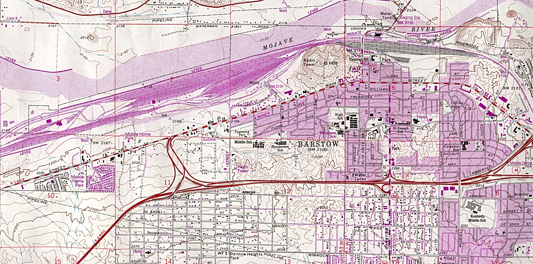 Barstow Topographic City Map, California, United States
