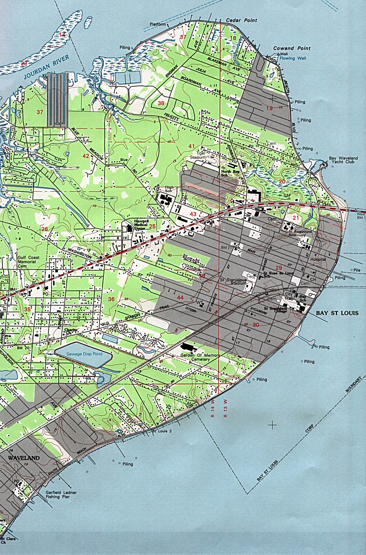 Bay Saint Louis Topographic City Map, Mississippi, United States