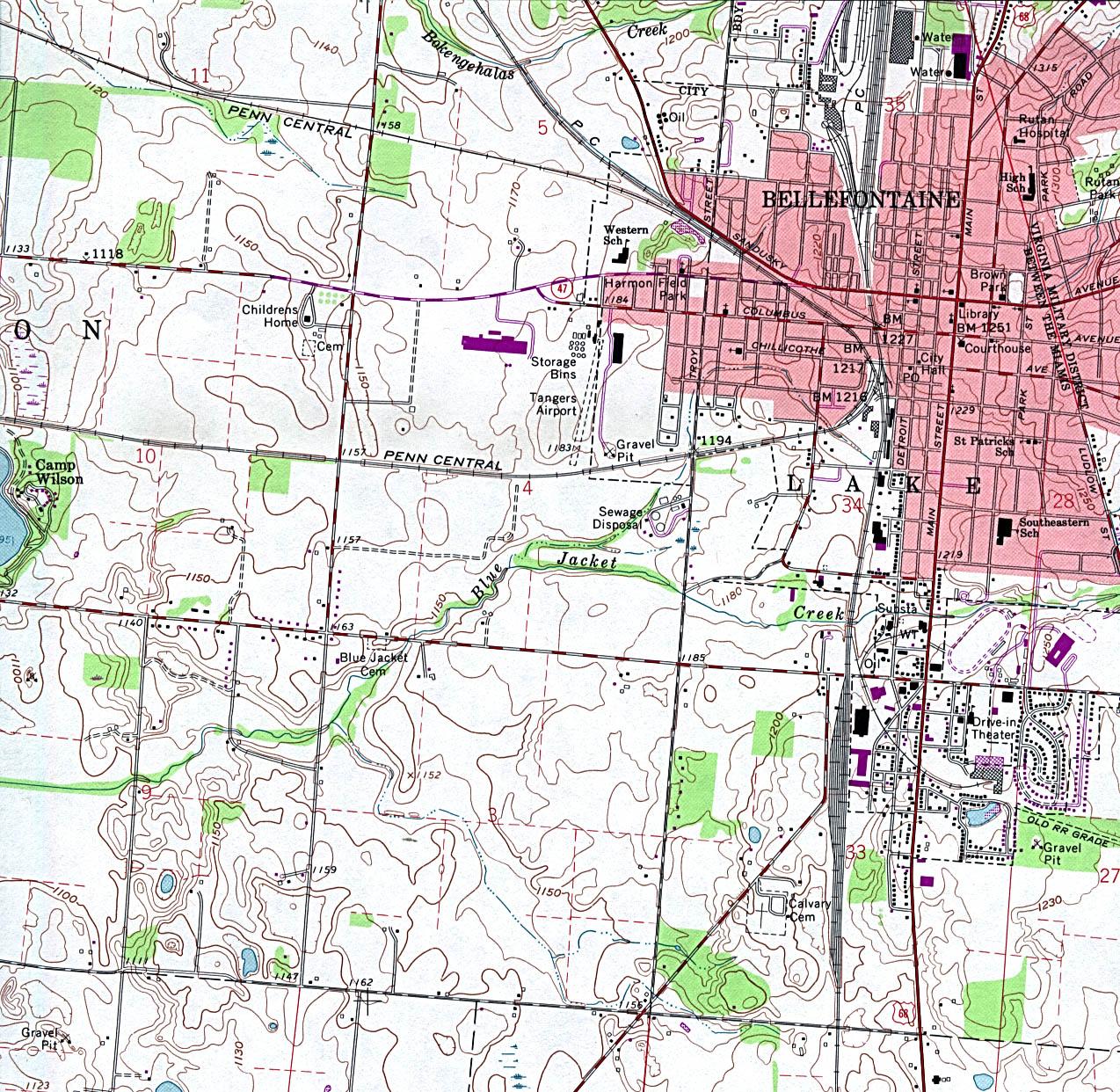 Mapa Topográfico de la Ciudad de Bellefontaine, Ohio, Estados Unidos