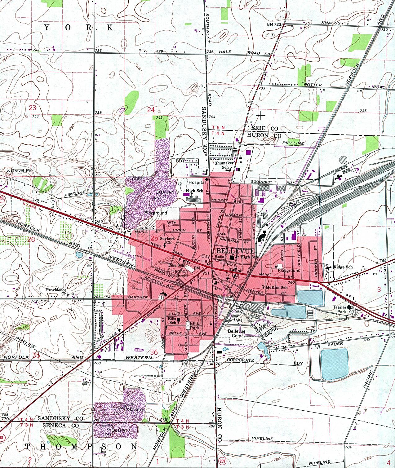 Mapa Topográfico de la Ciudad de Bellevue, Ohio, Estados Unidos