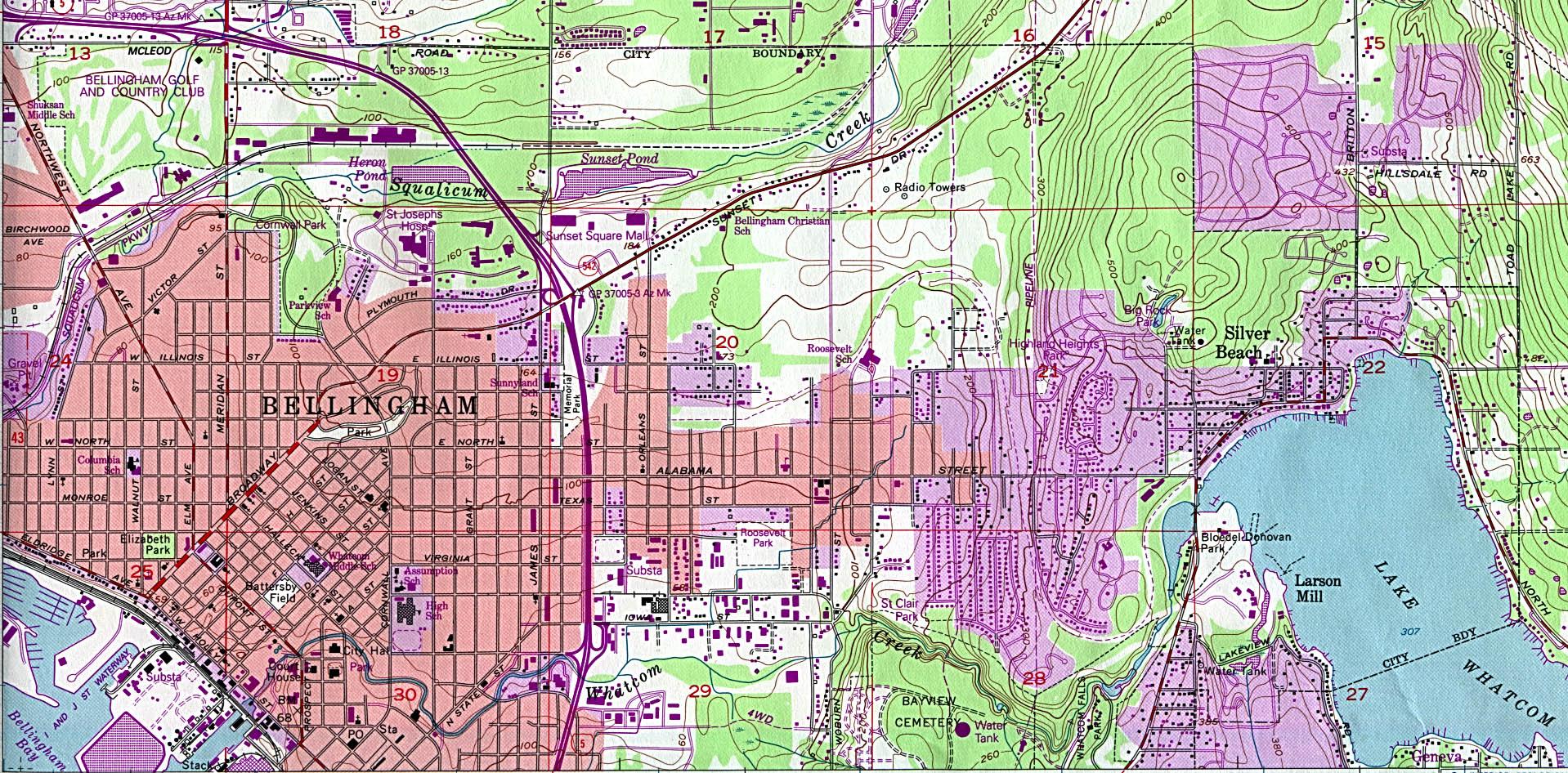 Mapa Topográfico de la Ciudad de Bellingham North, Washington, Estados Unidos