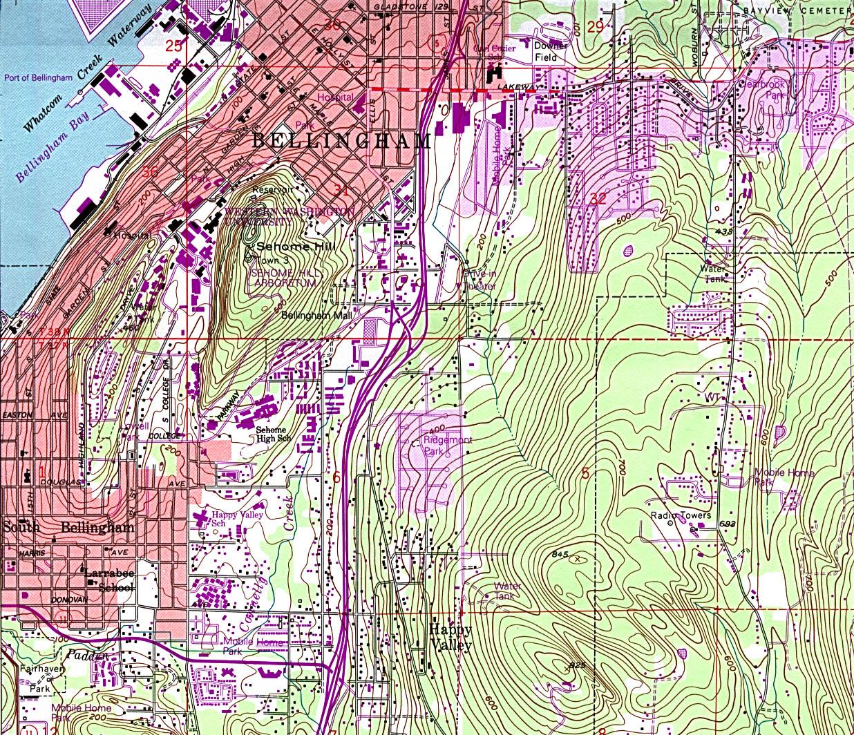 Mapa Topográfico de la Ciudad de Bellingham South, Washington, Estados Unidos