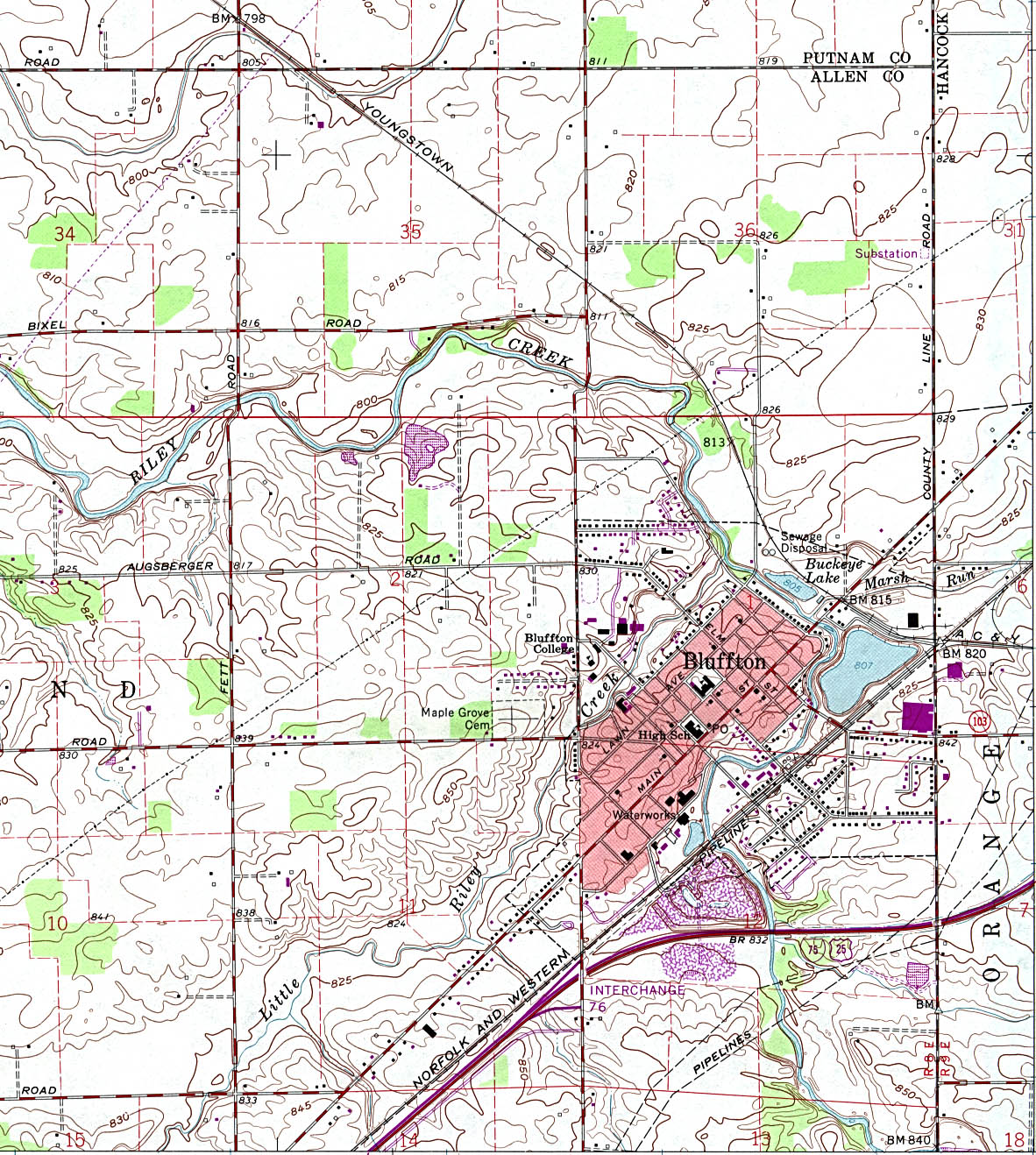 Bluffton Topographic City Map, Ohio, United States