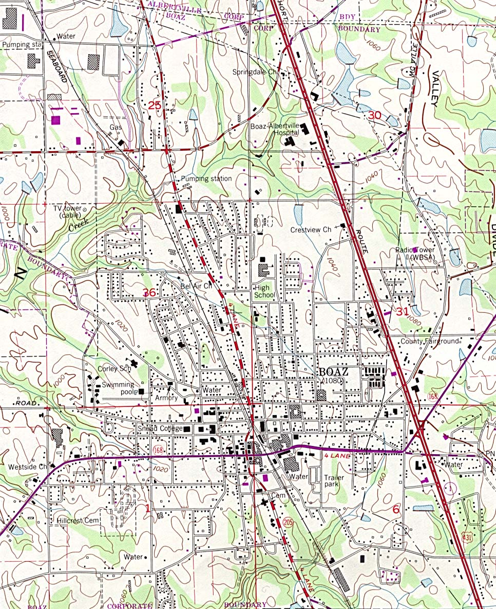 Boaz Topographic City Map, Alabama, United States