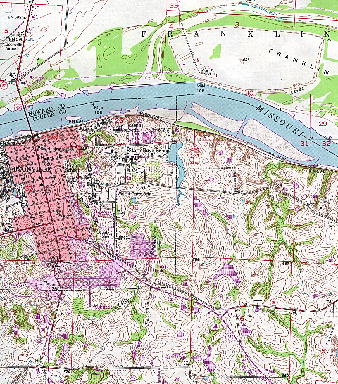 Boonville Topographic City Map, Missouri, United States