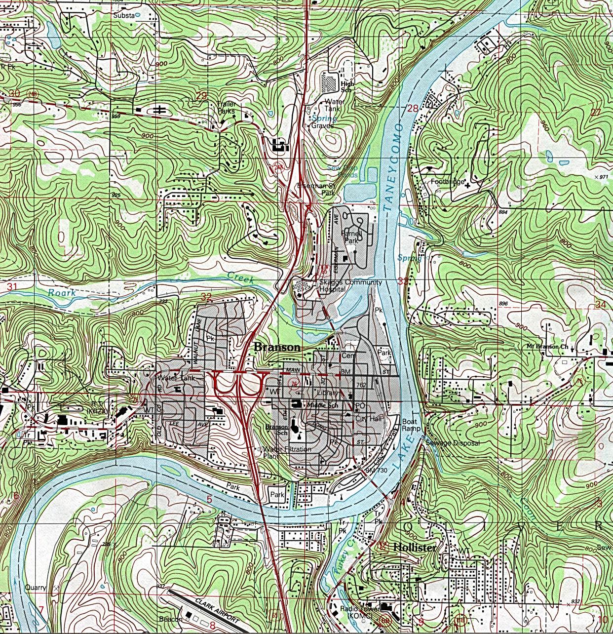 Mapa Topográfico de la Ciudad de Branson, Missouri, Estados Unidos