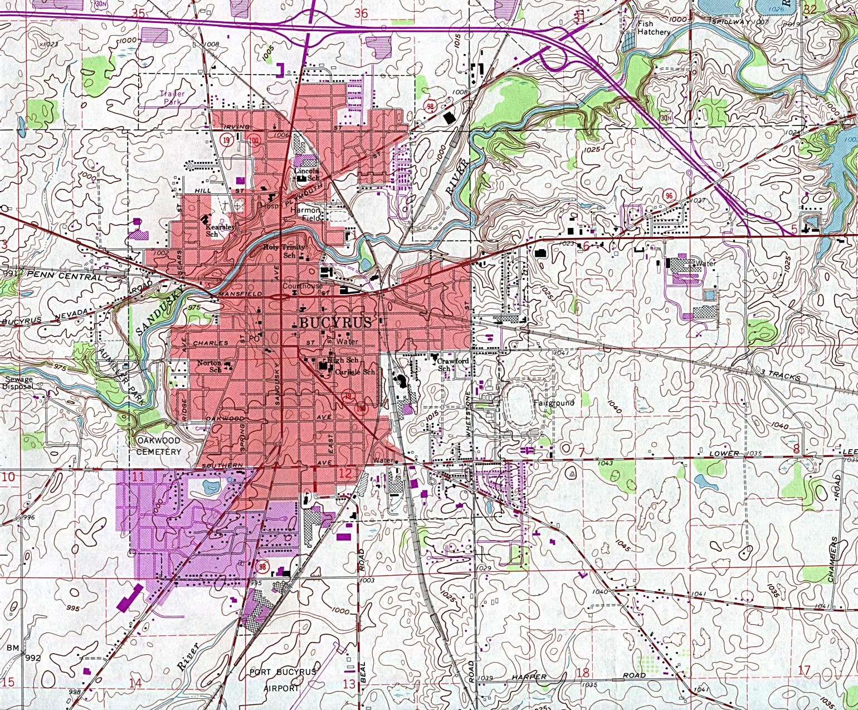 Mapa Topográfico de la Ciudad de Bucyrus , Ohio, Estados Unidos