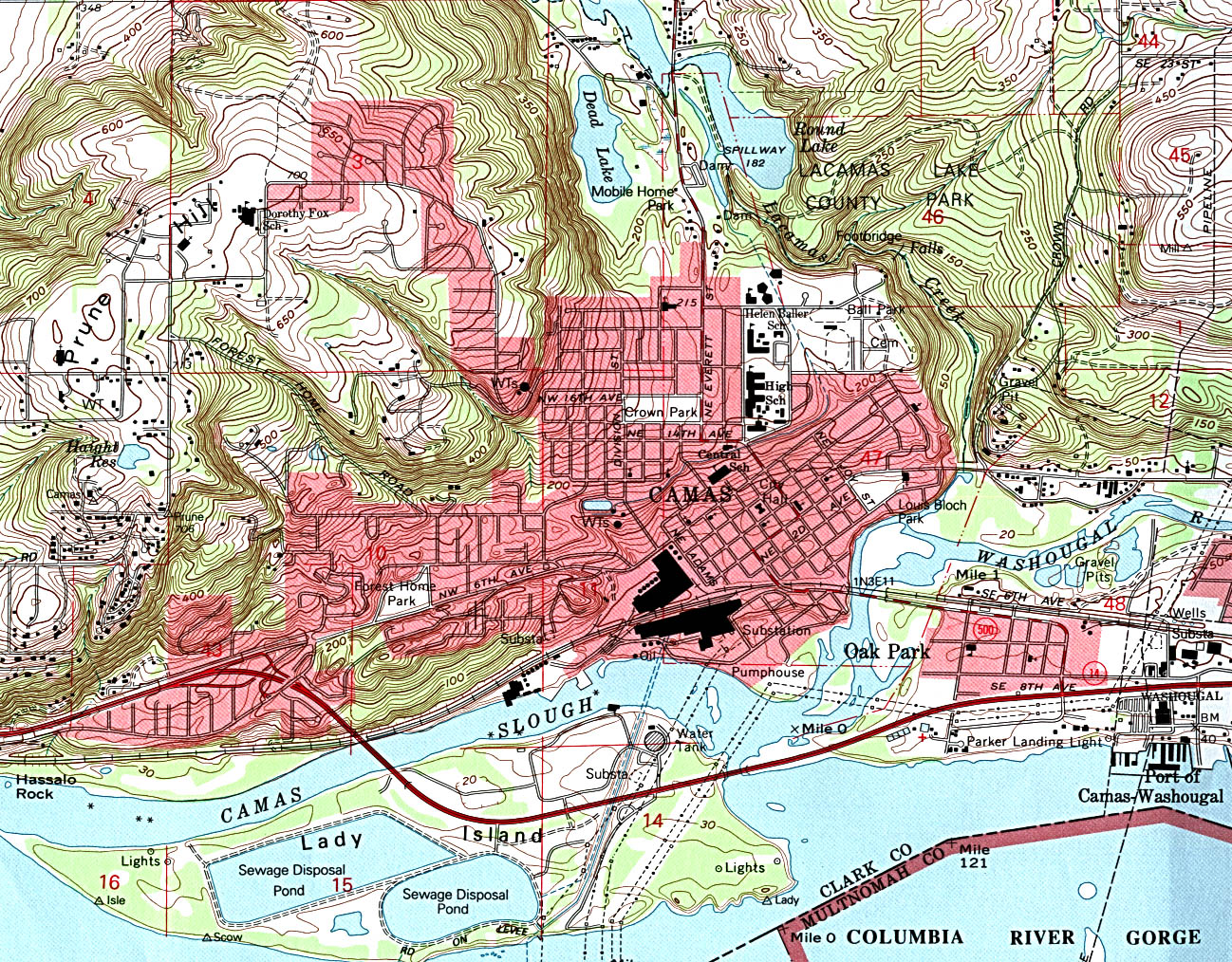 Camas Topographic City Map, Washington, United States