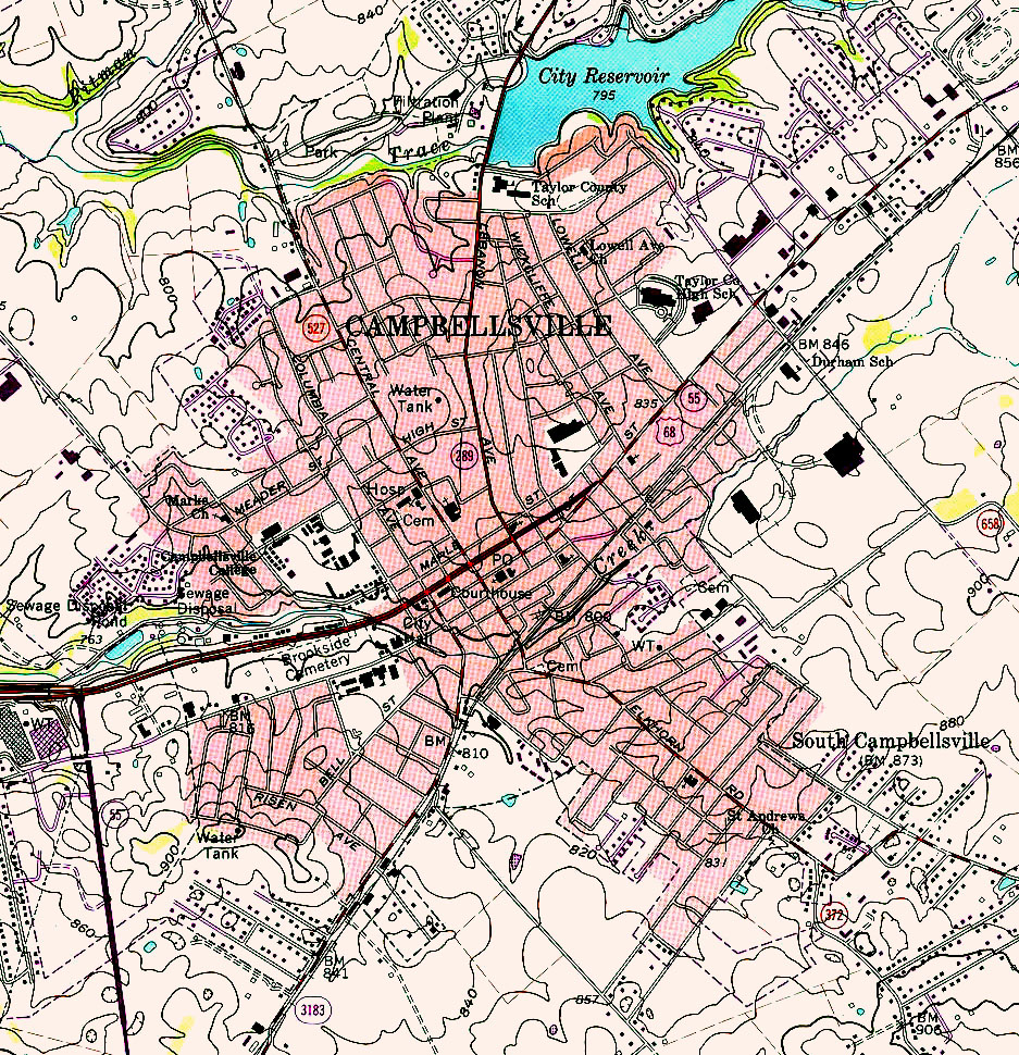 Campbellsville Topographic City Map, Kentucky, United States