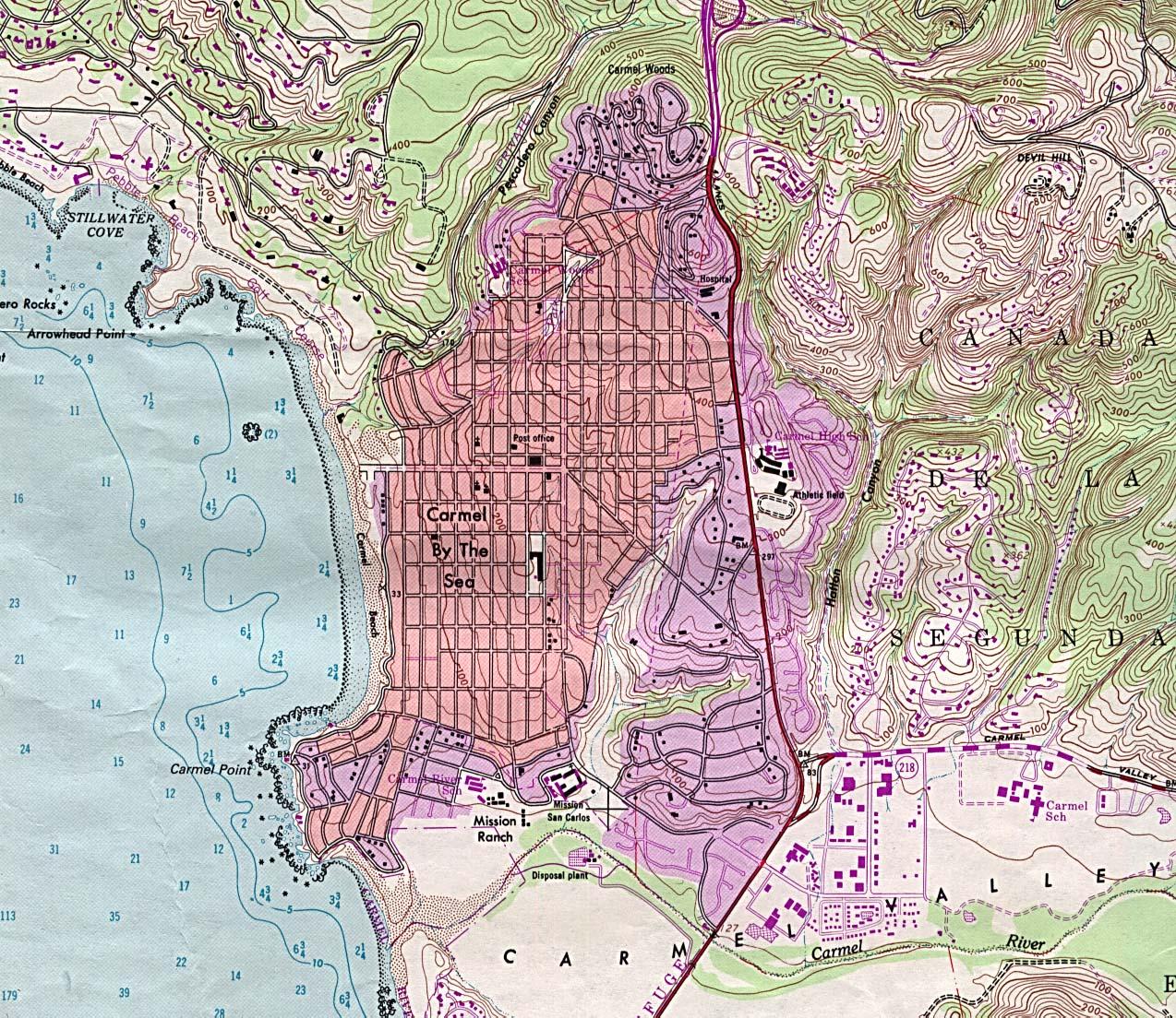 Mapa Topográfico de la Ciudad de Carmel by The Sea, California, Estados Unidos
