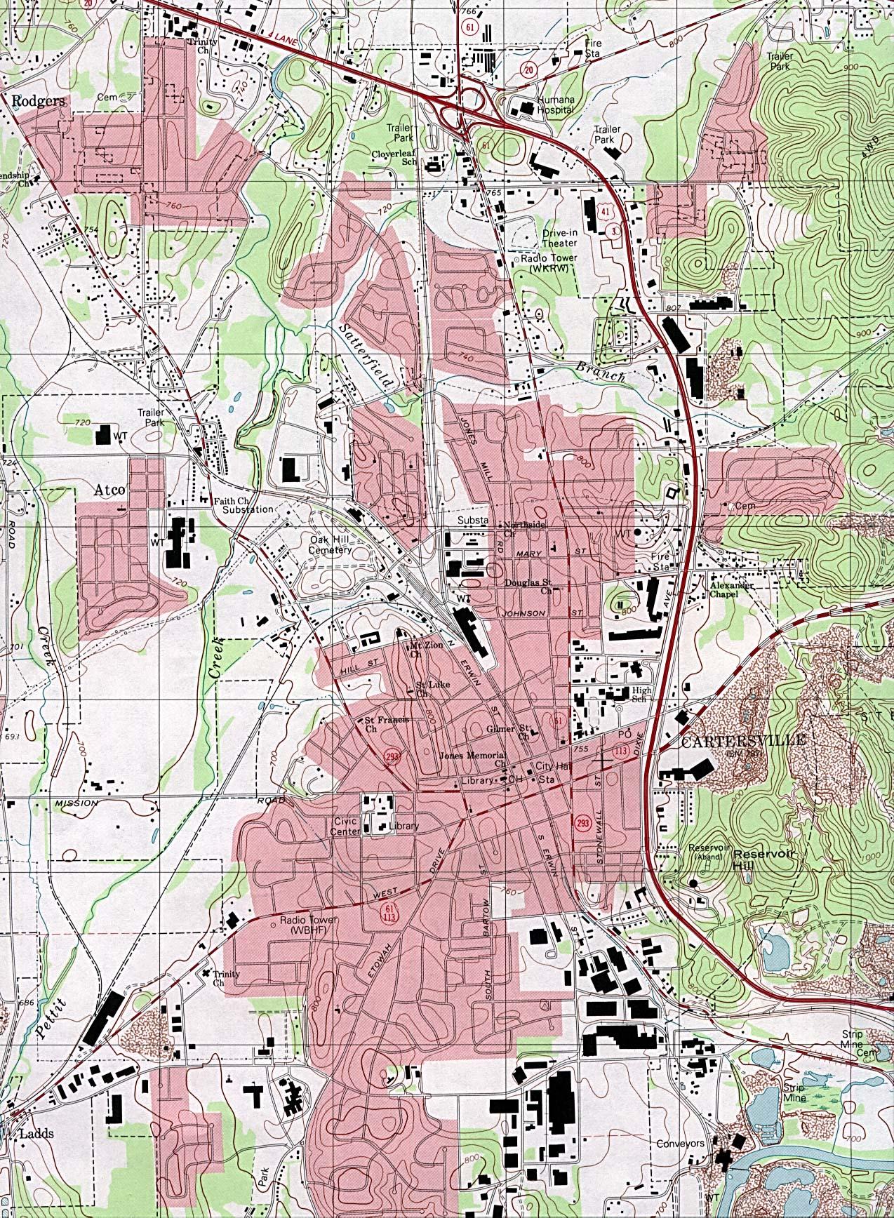 Cartersville Topographic City Map, Georgia, United States