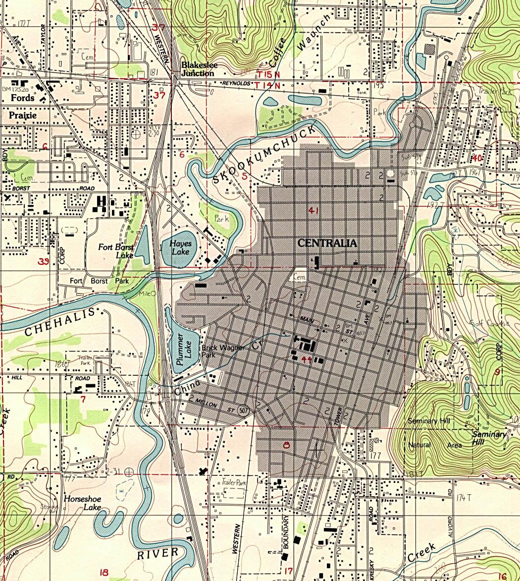 Mapa Topográfico de la Ciudad de Centralia, Washington, Estados Unidos