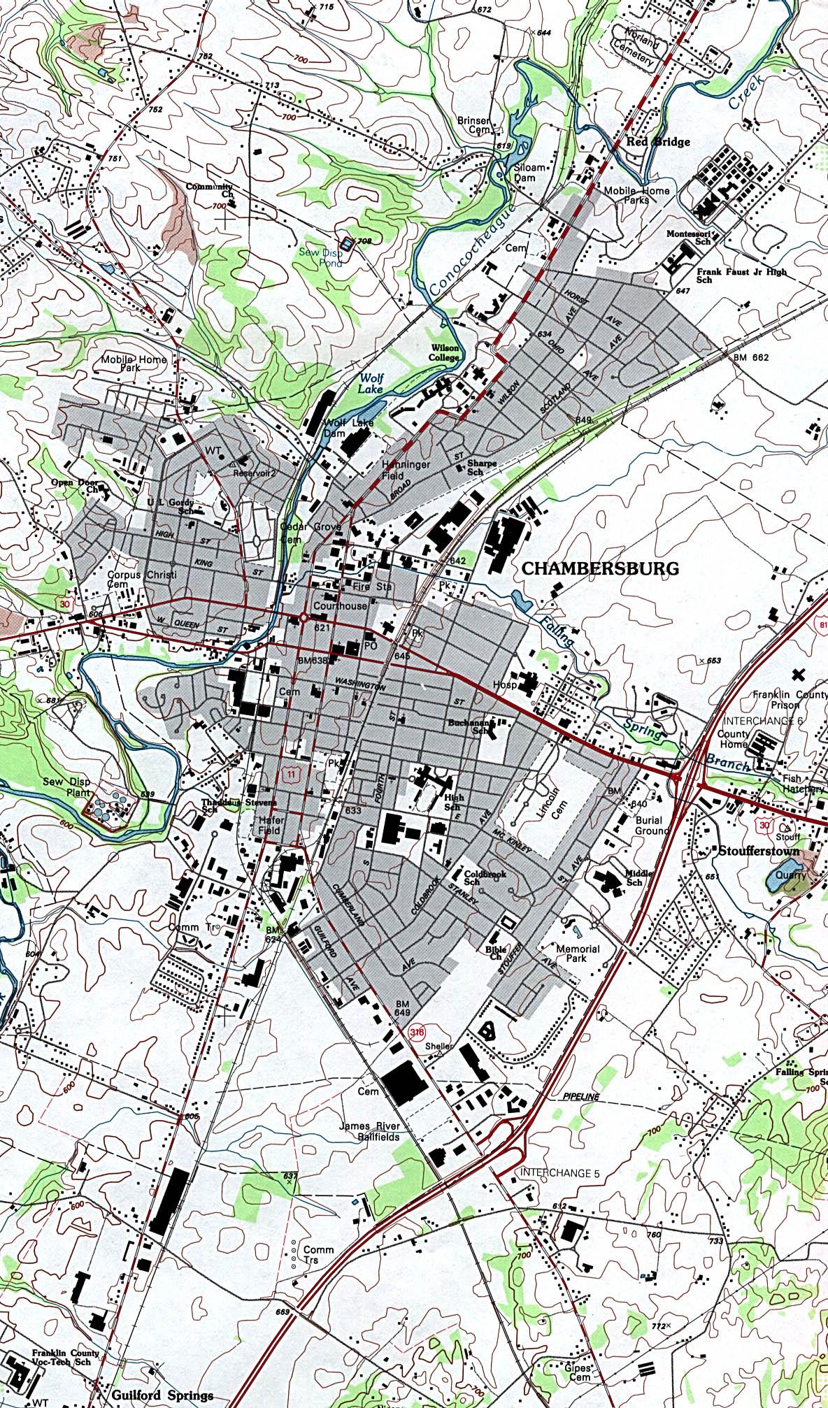 Mapa Topográfico de la Ciudad de Chambersburg, Pensilvania, Estados Unidos