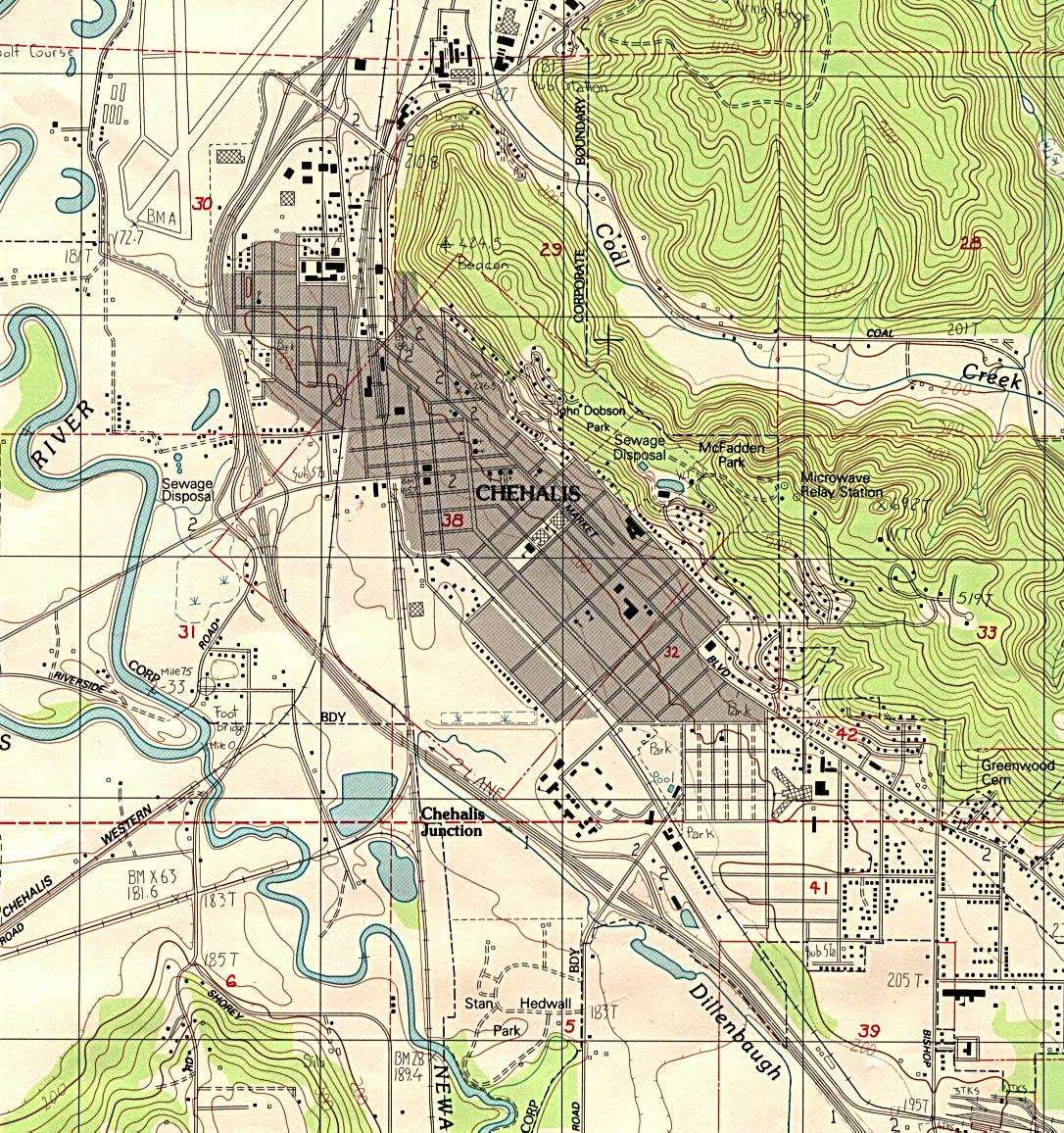 Chehalis Topographic City Map, Washington, United States