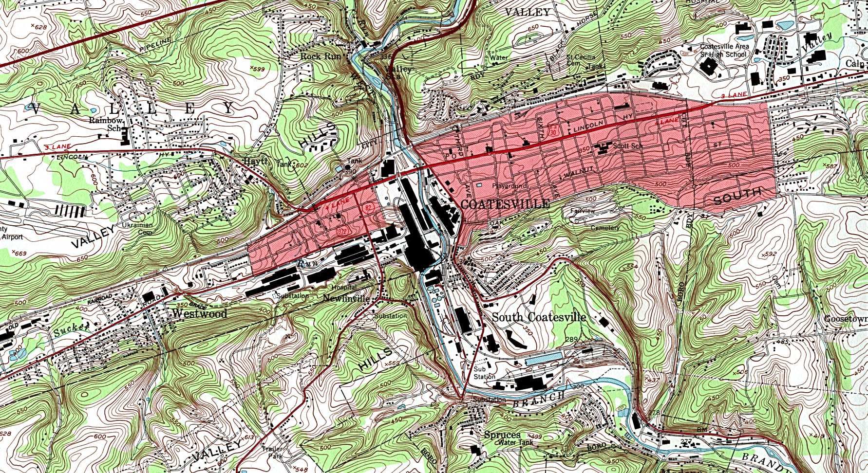 Coatesville Topographic City Map, Pennsylvania, United States