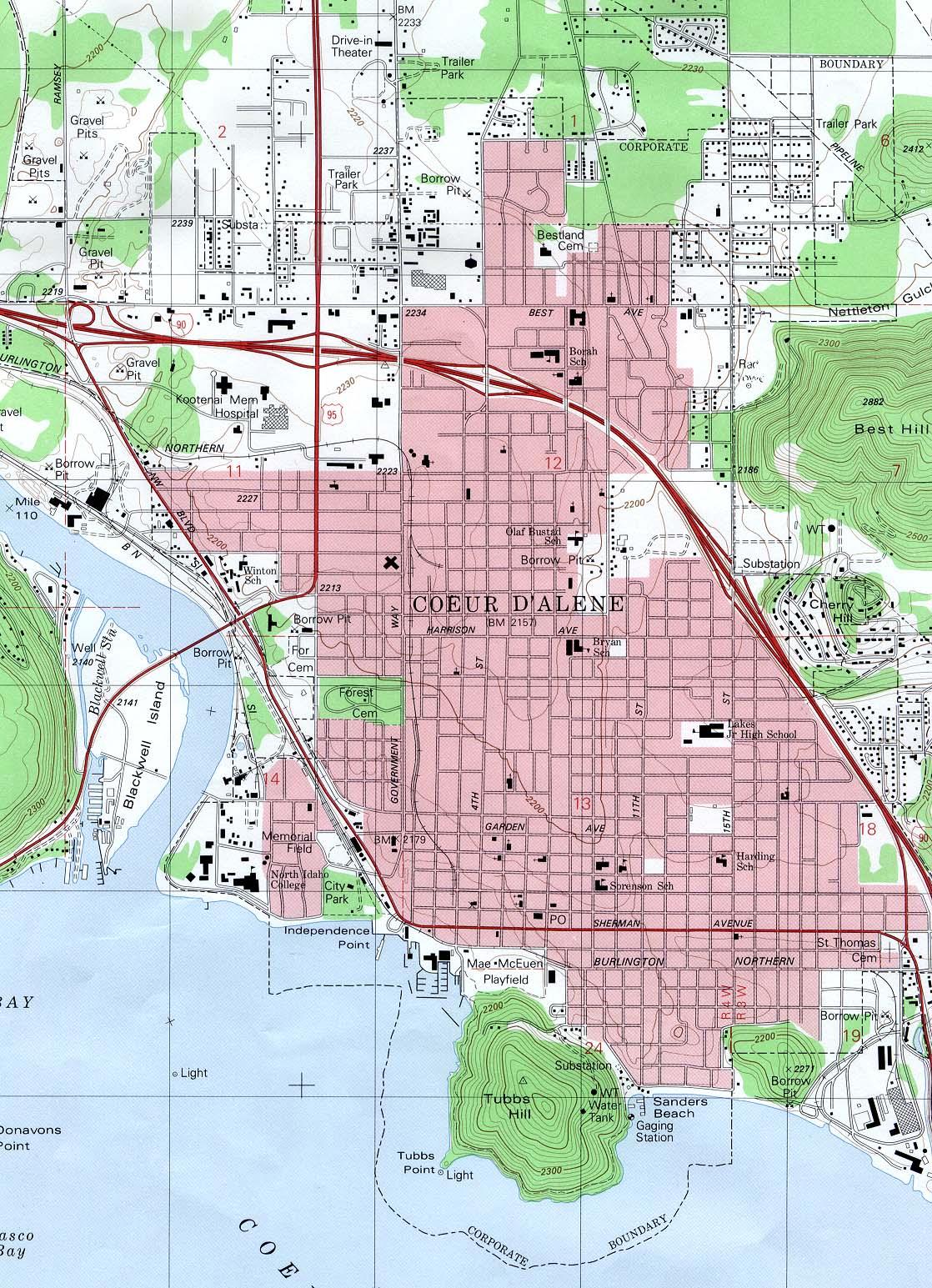 Coeur D'Alene Topographic City Map, Idaho, United States