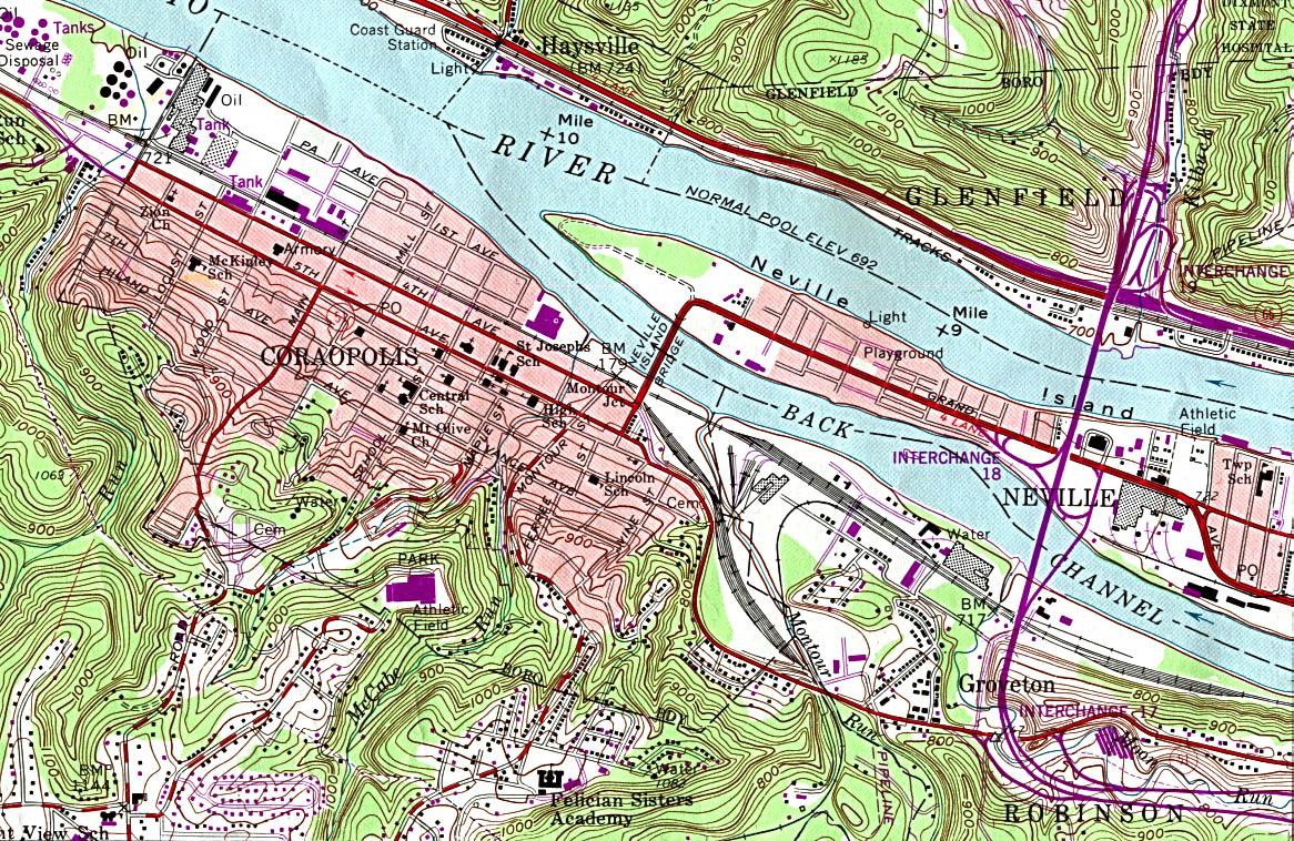 Coraopolis Topographic City Map, Pennsylvania, United States