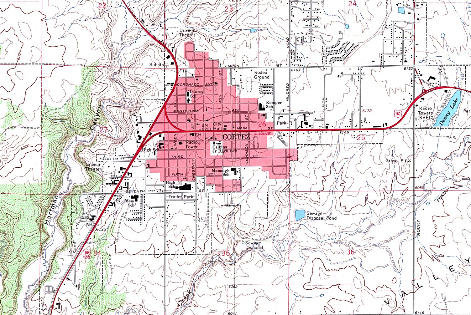 Cortez Topographic City Map, Colorado, United States