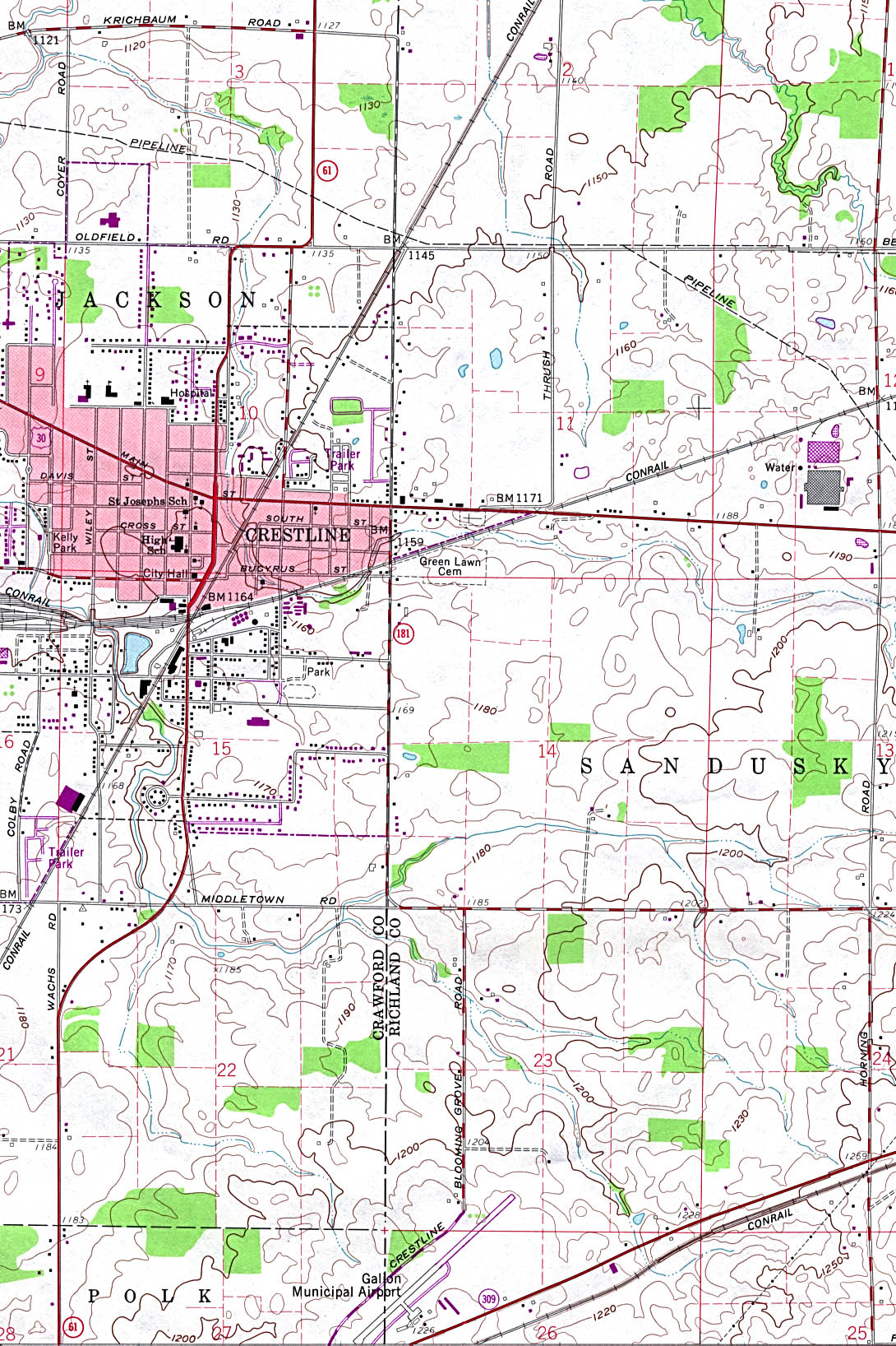 Crestline Topographic City Map, Ohio, United States