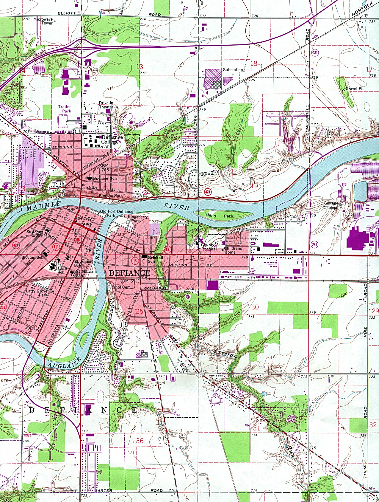 Defiance Topographic City Map, Ohio, United States