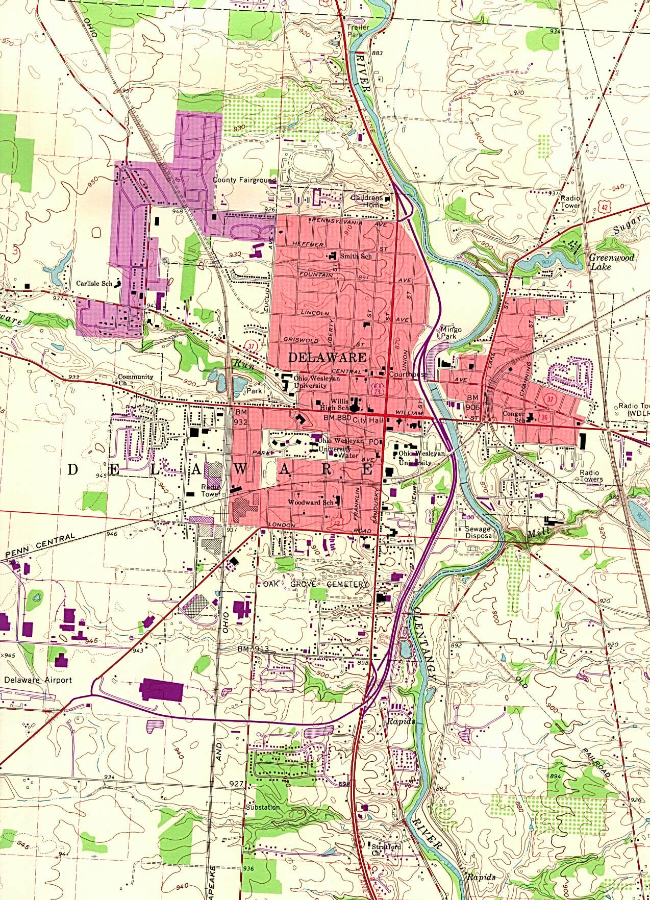 Delaware Topographic City Map, Ohio, United States
