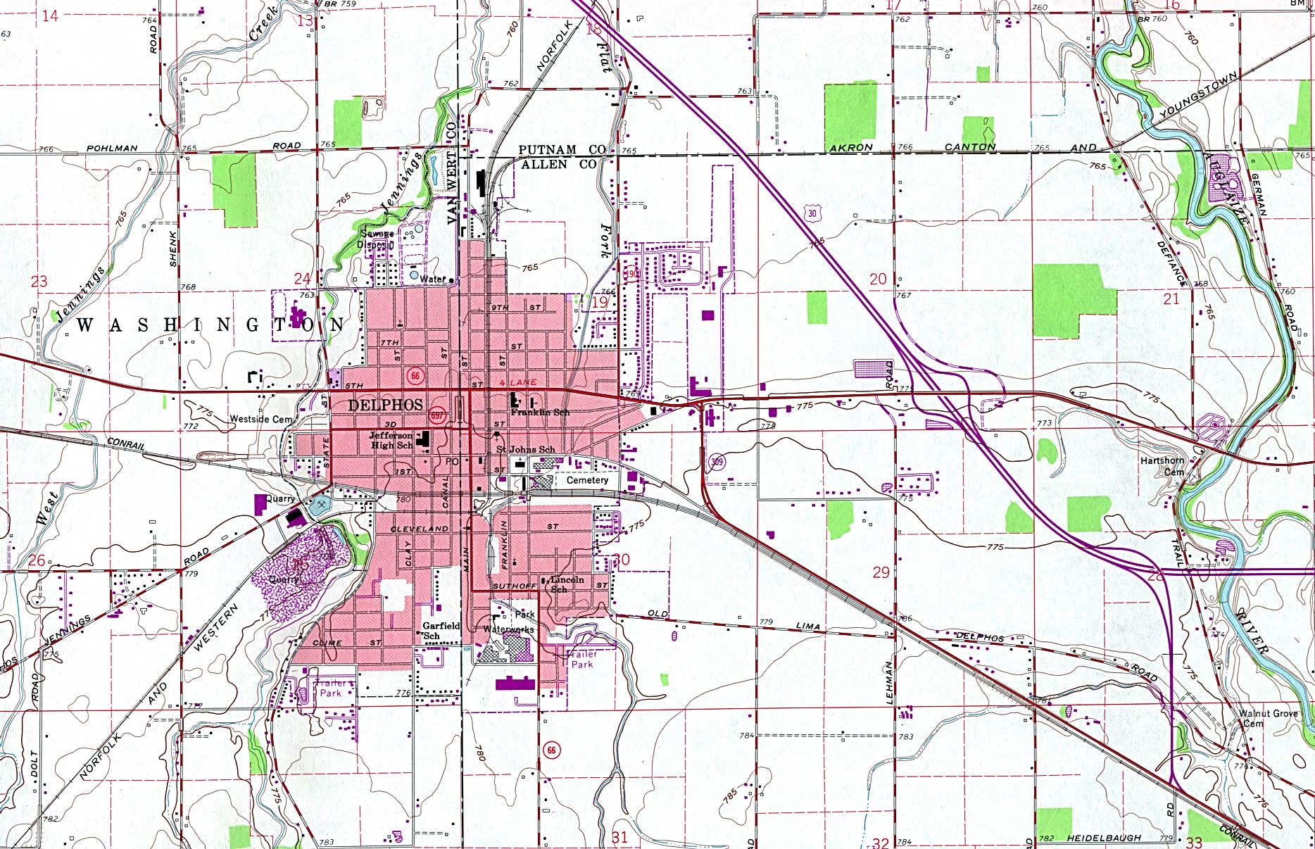 Mapa Topográfico de la Ciudad de Delphos, Ohio, Estados Unidos