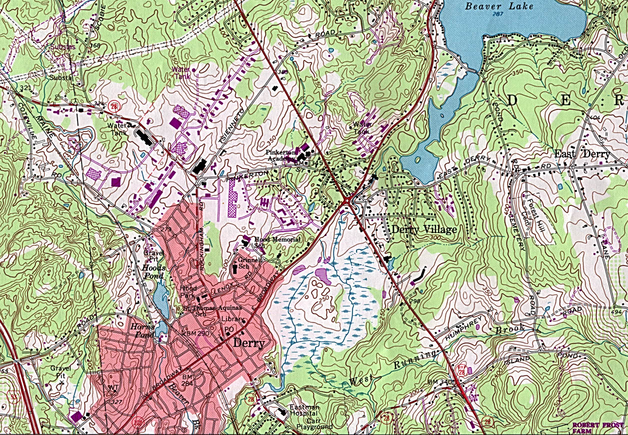 Derry Topographic City Map, New Hampshire, United States