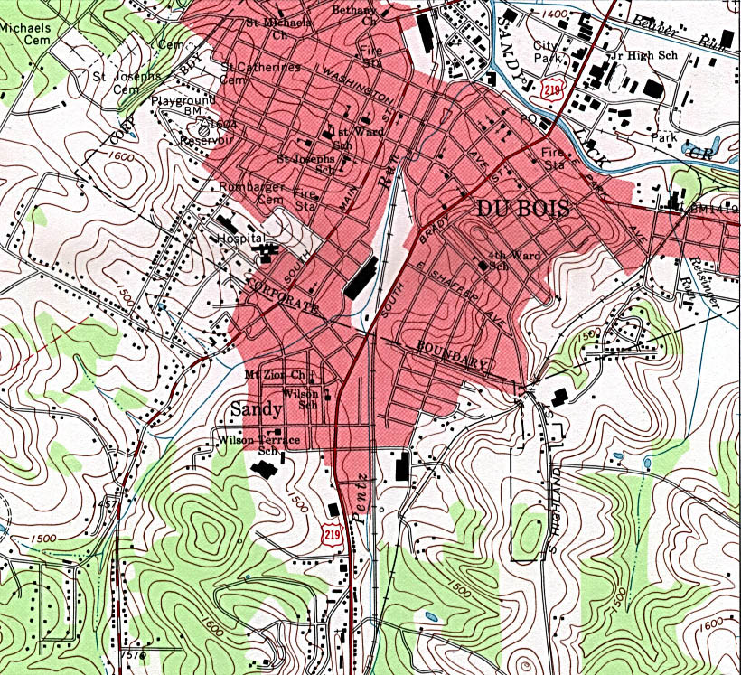 Du Bois Topographic City Map, Pennsylvania, United States
