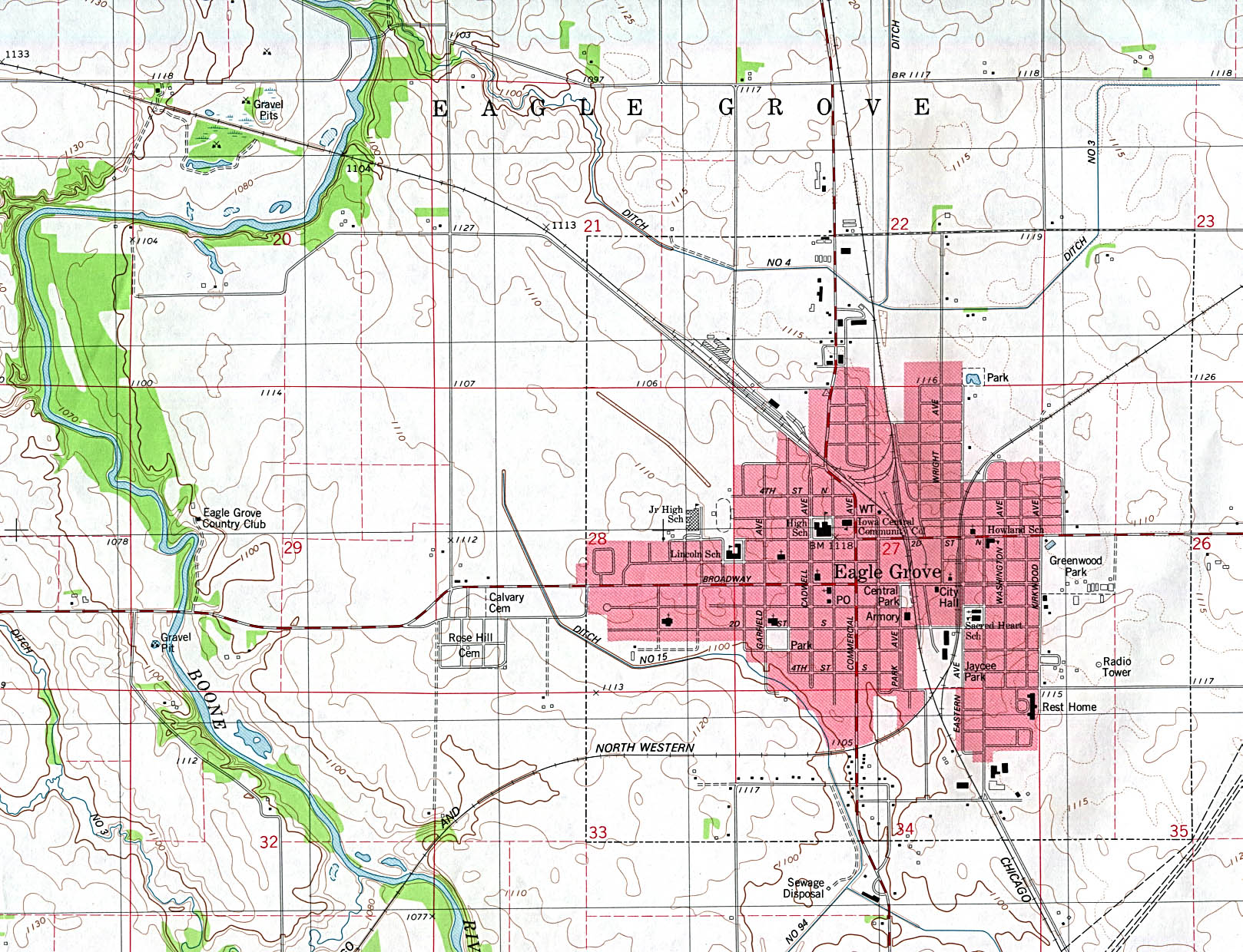 Eagle Grove Topographic City Map, Iowa, United States