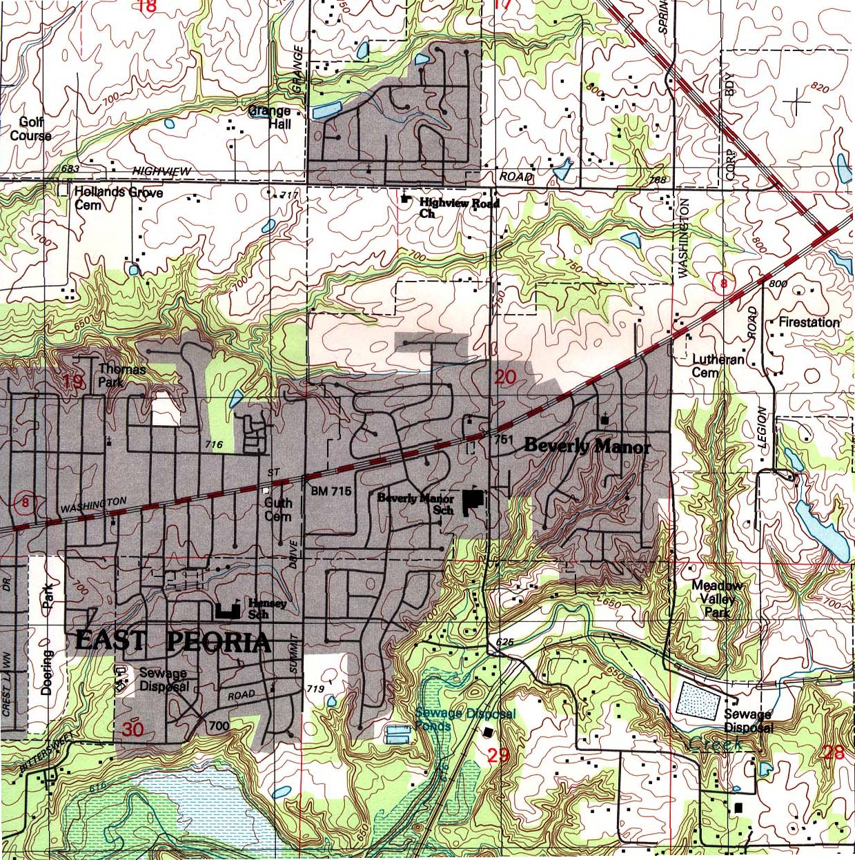 East Peoria Topographic City Map, Illinois, United States