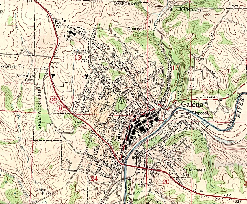 Galena Topographic City Map, Iowa, United States