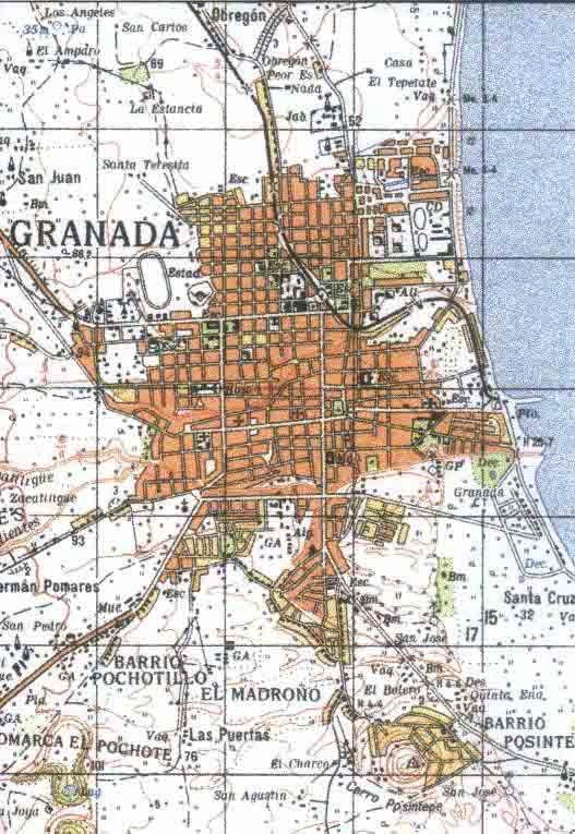 Granada City Topographic Map, Nicaragua