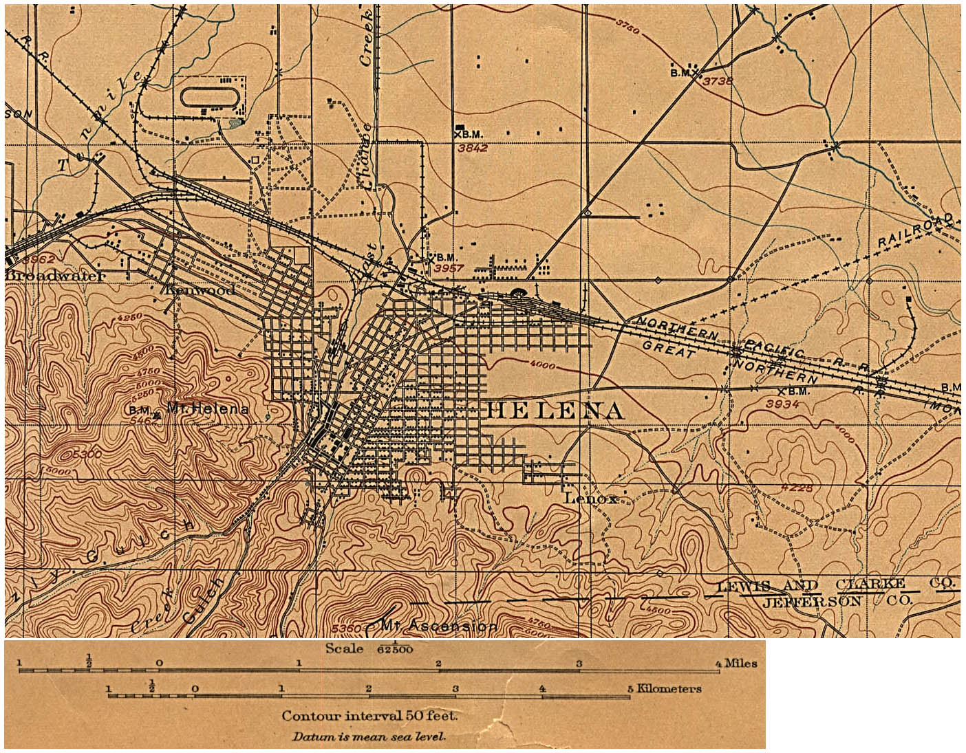 Helena Topographic City Map, Montana, United States 1899