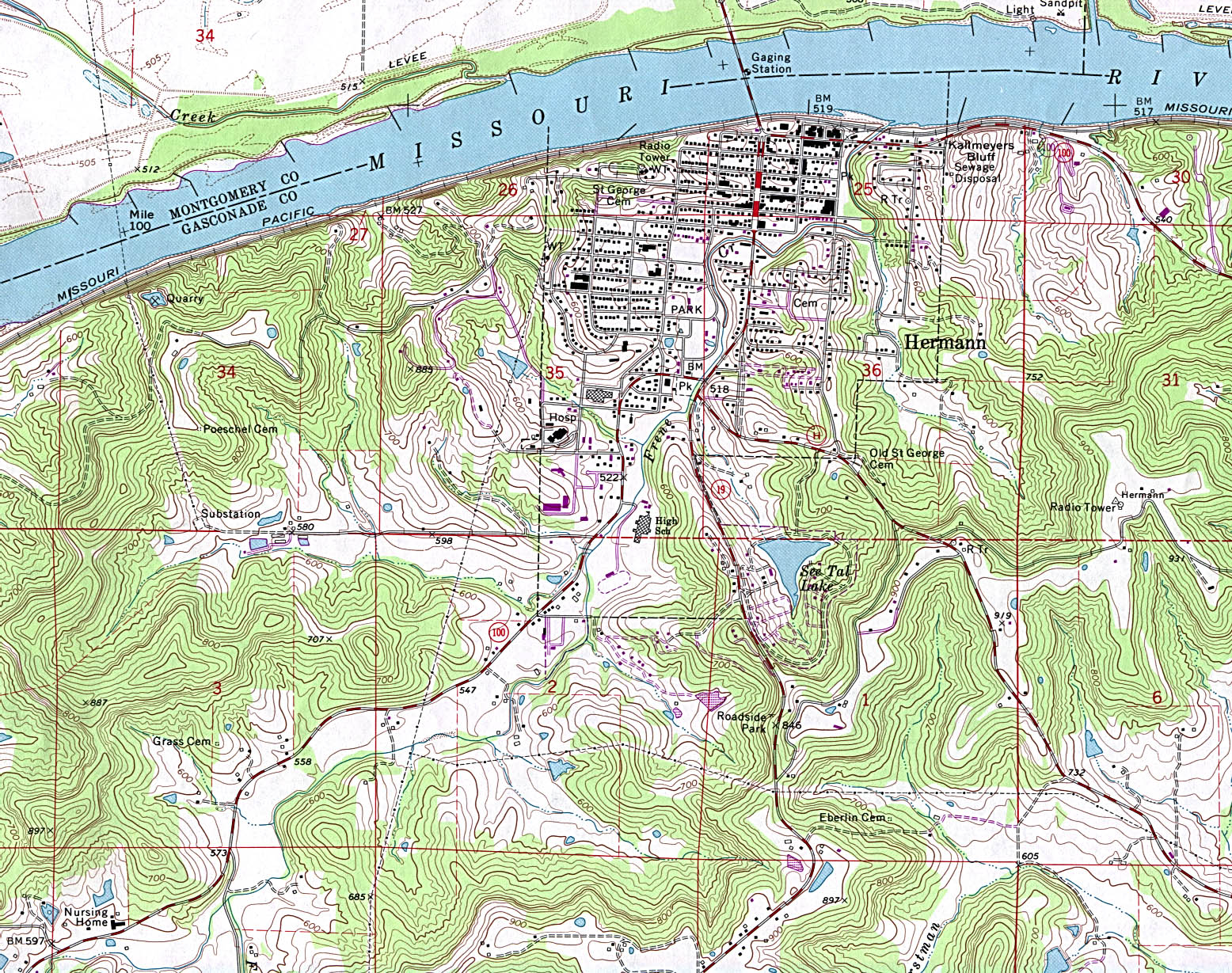 Hermann Topographic City Map, Missouri, United States