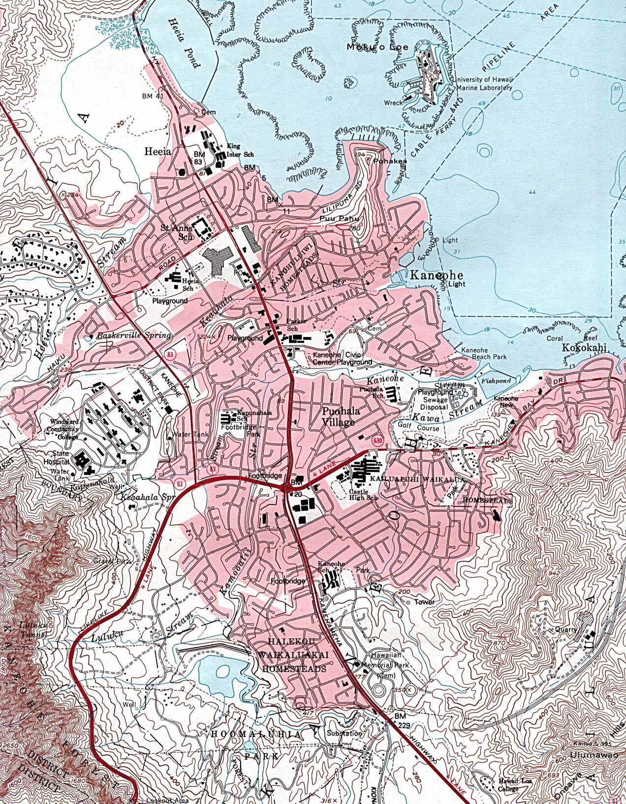 Mapa Topográfico de la Ciudad de Kaneohe, Hawái, Estados Unidos